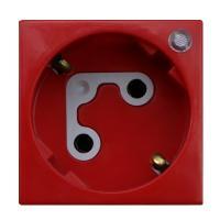 Efapel 45137 SVM Розетка 220В 2к+з, (45х45мм), с механической блокировкой, с ключом и сигнальной лампой, красная