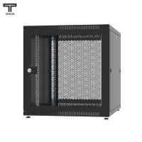 """ТЕЛКОМ TLN-12.6.10-П.9005 Шкаф 12U 600x1000x620мм (ШхГхВ) телекоммуникационный 19"""" напольный, передняя дверь перфорированная-задняя перфорированная панель съёмная, цвет чёрный (RAL9005) (1 место)"""
