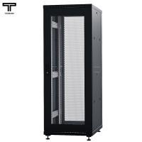 """ТЕЛКОМ ТС-37.6.6-СП Шкаф 37U 600x600x1765мм (ШхГхВ) телекоммуникационный 19"""" напольный, передняя дверь стеклянная - задняя дверь перфорированная, цвет (чёрный RAL9005) (5 мест)"""
