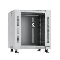 """Cabeus SH-05C-12U60/60 Шкаф монтажный телекоммуникационный 19"""" напольный для распределительного и серверного оборудования 12U 600x600x730mm (ШхГхВ) передняя стеклянная и задняя сплошная металлическая двери, ручка с замком, цвет серый (RAL 7035)"""
