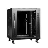 """Cabeus SH-05C-12U60/80-BK Шкаф телекоммуникационный 19"""" напольный 12U 600x800x730mm (ШхГхВ) передняя стеклянная и задняя сплошная металлическая двери, ручка с замком, цвет черный (RAL 9004)"""