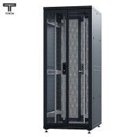"""ТЕЛКОМ ТСМ-42.8.10-2П2П Шкаф 42U 800x1000х1987мм (ШхГхВ) телекоммуникационный 19"""" напольный, передняя дверь перфорированная распашная 2-х створчатая - задняя дверь перфорированная распашная (2-х створчатая), цвет черный (RAL9005) (5 мест)"""