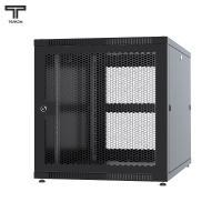 """ТЕЛКОМ TLN-12.6.8-П.9005 Шкаф 12U 600x800x620мм (ШхГхВ) телекоммуникационный 19"""" напольный, передняя дверь перфорированная-задняя перфорированная панель съёмная, цвет чёрный (RAL9005) (1 место)"""