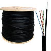 Neomax NM10041 Кабель витая пара UTP (U/UTP), категория 5e, 4 пары 0,5мм (24 AWG), одножильный (solid), для внешней прокладки (+60C -40C), с металлическим тросом д.2мм (бухта 305м)