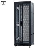 """ТЕЛКОМ ТС-47.6.12-2ПП Шкаф 47U 600x1200х2209мм (ШхГхВ) телекоммуникационный 19"""" напольный, передняя дверь перфорированная распашная 2-х створчатая - задняя дверь перфорированная, цвет черный (RAL9005) (5 мест)"""