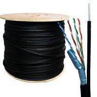 Neomax NM20041 Кабель витая пара FTP (F/UTP) экранированная, категория 5e, 4 пары, одножильный, экран - фольга, для внешней уличной прокладки (+60C до -40C), с металлическим тросом д.2мм (бухта 305м)