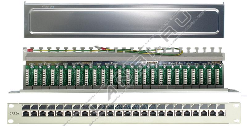 Патч панель 19 коммутационная экранированная 24 порта rj45 cat 5e.