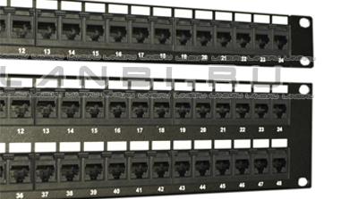 Патч-панели на 24,48 порта RJ45 категории 6 применяются в системах СКС для подключения